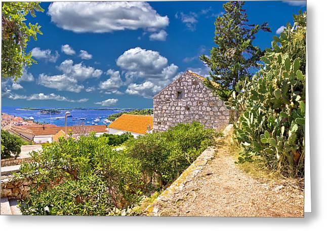Panoramic Ocean Greeting Cards - Island of Hvar coast view Greeting Card by Dalibor Brlek