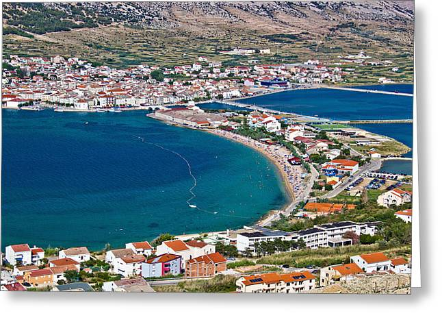 Cathedral Rock Greeting Cards - Island of Pag bay aerial view Greeting Card by Dalibor Brlek