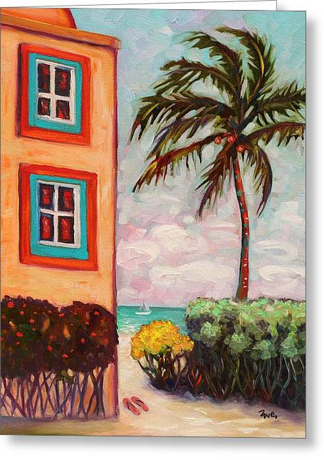 Eve Wheeler Greeting Cards - Island Palm Greeting Card by Eve  Wheeler