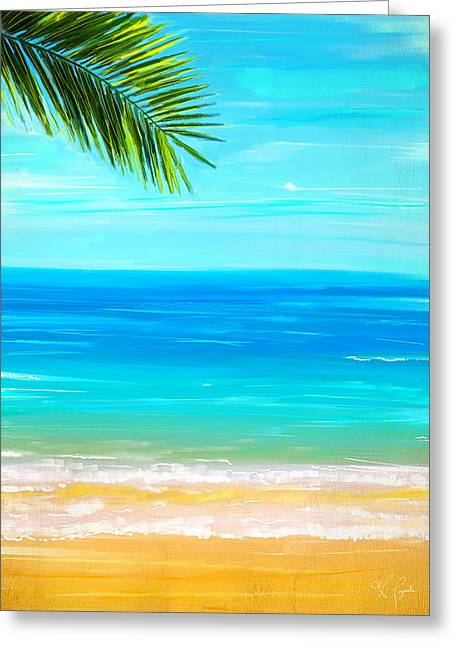 Water Themed Paintings Greeting Cards - Island Paradise Greeting Card by Lourry Legarde