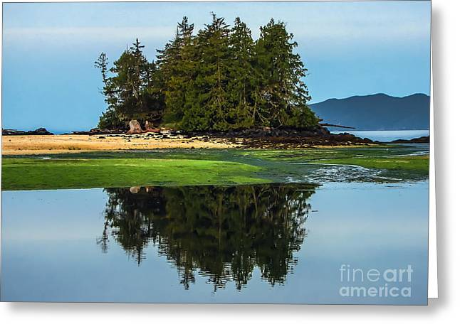 Queen Charlotte Strait Greeting Cards - Island Reflection Greeting Card by Robert Bales