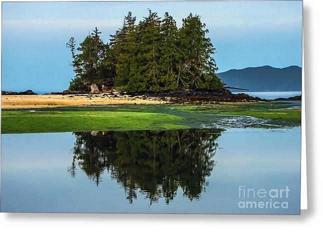 Island Reflection Greeting Card by Robert Bales
