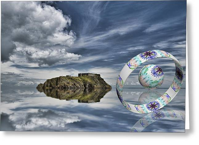 Smoking Trail Greeting Cards - Island Ring and Sphere Greeting Card by Steve Purnell