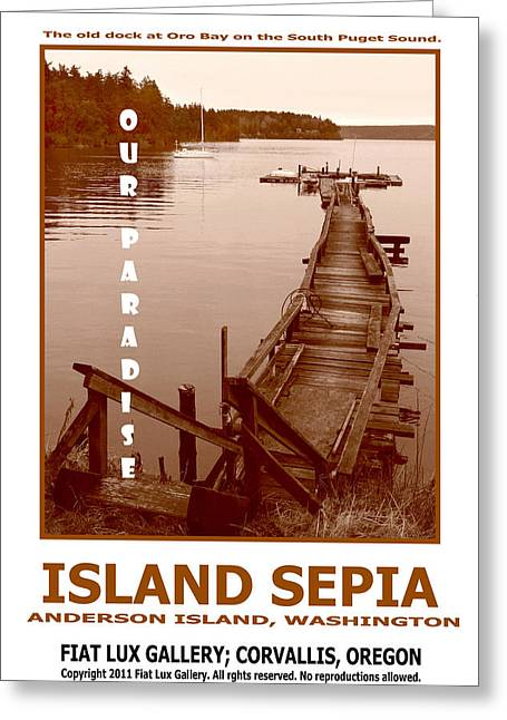 South Puget Sound Greeting Cards - Island Sepia Greeting Card by Mike Moore FIAT LUX