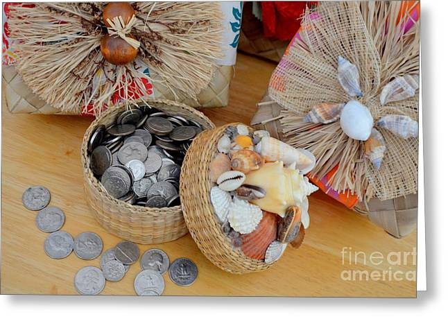 Lauhala Greeting Cards - Island Style Piggy Bank Greeting Card by Mary Deal