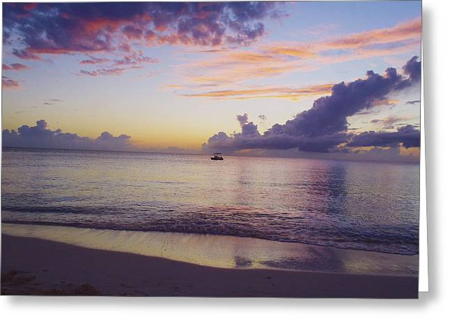 Scuba Diving Greeting Cards - Island sunset Greeting Card by Carey Chen