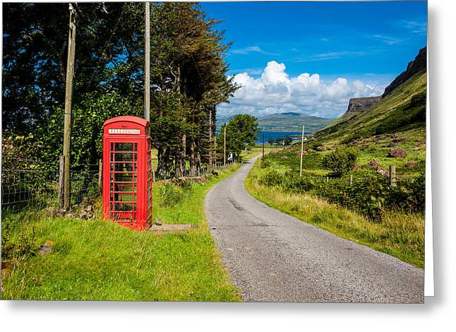 Middle Of Nowhere Greeting Cards - Traditonal British Telephone Box on the Isle of Mull Greeting Card by Max Blinkhorn