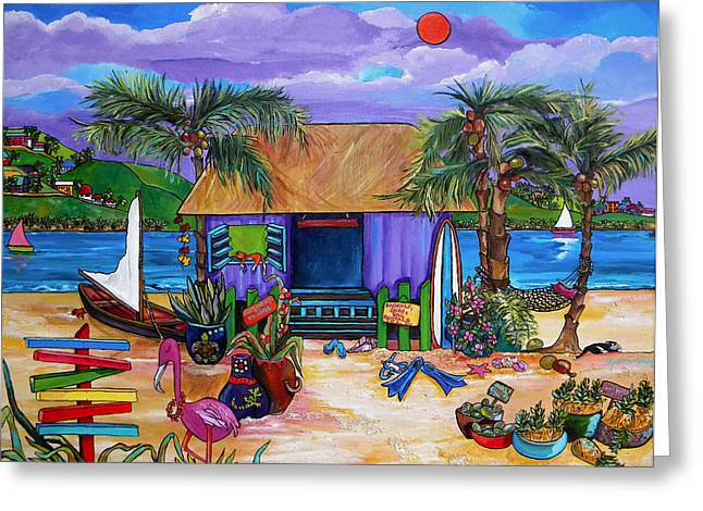 Tropical Paintings Greeting Cards - Island Time Greeting Card by Patti Schermerhorn