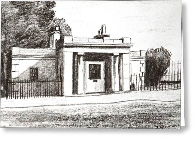 Black Lodge Drawings Greeting Cards - Islandbridge Gate Lodge Phoenix park Dublin Greeting Card by Tony Gunning