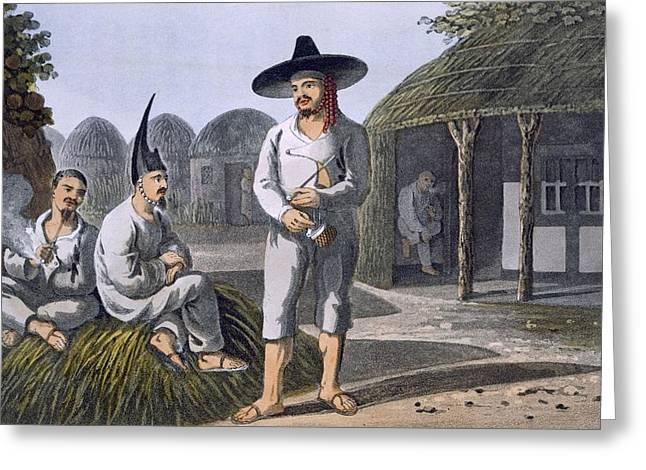 Wide Brim Hat Greeting Cards - Islanders Of Sir James Halls Group, 1820 Greeting Card by English School