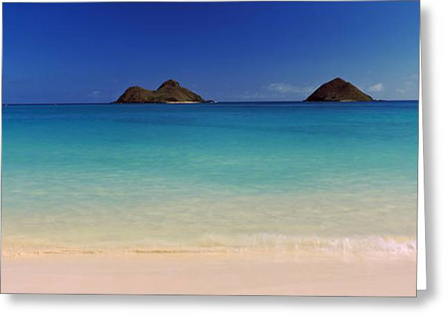 Non Urban Scene Greeting Cards - Islands In The Pacific Ocean, Lanikai Greeting Card by Panoramic Images