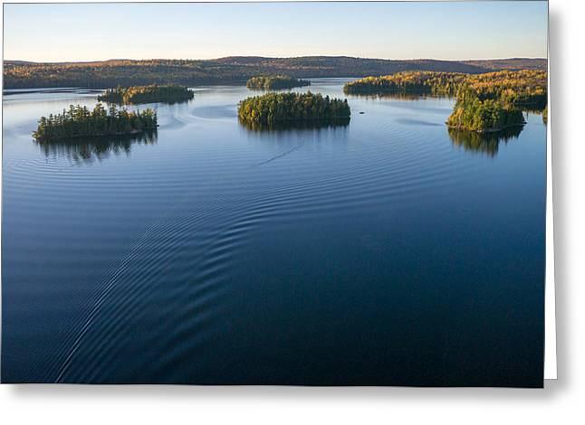 Aerial View Greeting Cards - Islands on Big Cedar Lake. Quebec. Greeting Card by Rob Huntley