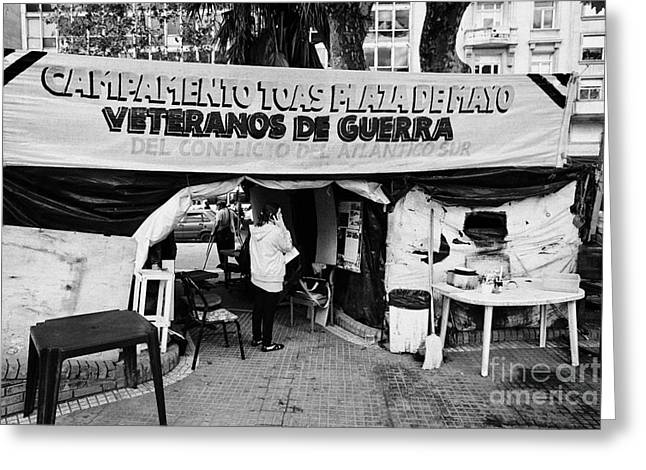 Protest Greeting Cards - Islas Malvinas Veterans Protest Camp Plaza De Mayo Buenos Aires Argentina Greeting Card by Joe Fox