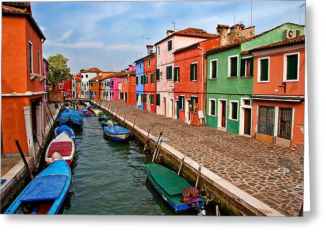 Colorful Paints Greeting Cards - Isle of Burano Greeting Card by Peter Tellone