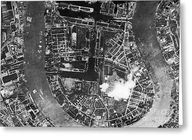 Post-war Greeting Cards - Isle Of Dogs, London, Historical Aerial Greeting Card by Getmapping Plc
