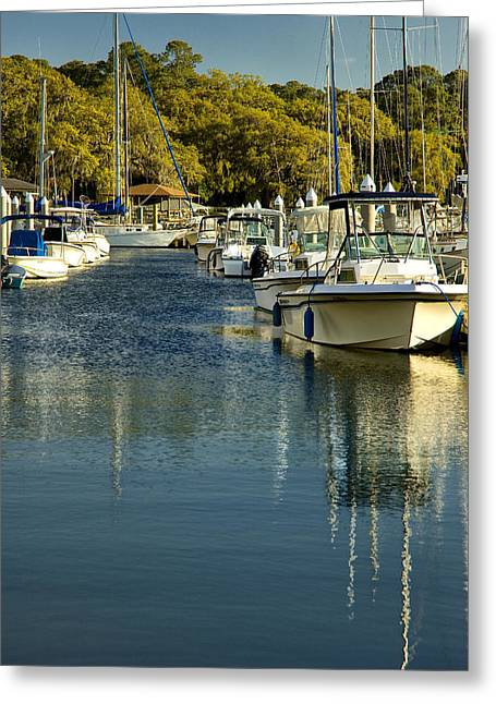 Juliette Low Greeting Cards - Isle of Hope Marina Greeting Card by Diana Powell