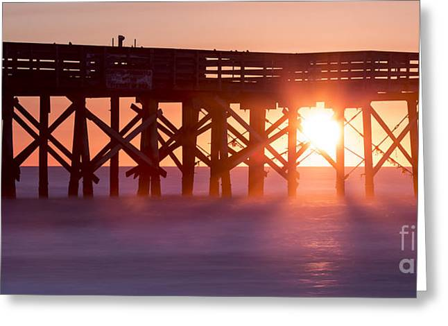 Isle Greeting Cards - Isle of Palms Pier Sunrise South Carolina Greeting Card by Dustin K Ryan