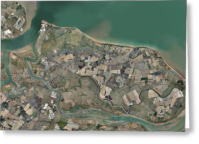 Port Kent Greeting Cards - Isle of Sheppey, UK, aerial view Greeting Card by Science Photo Library