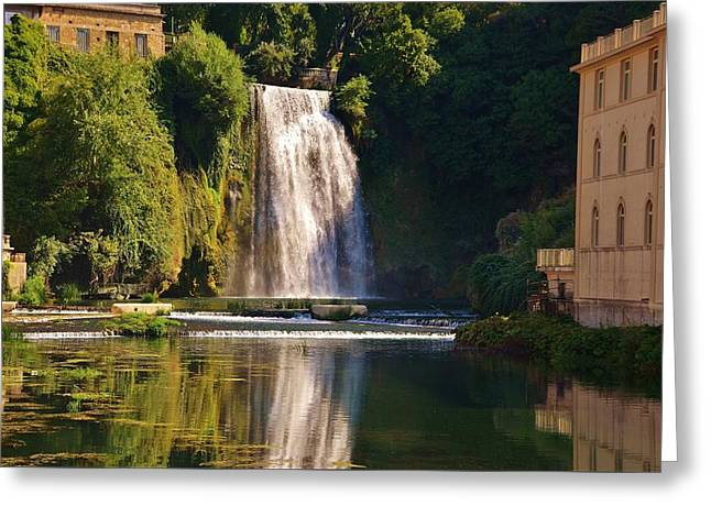 Reflections In River Greeting Cards - Isola del Liri falls Greeting Card by Dany  Lison