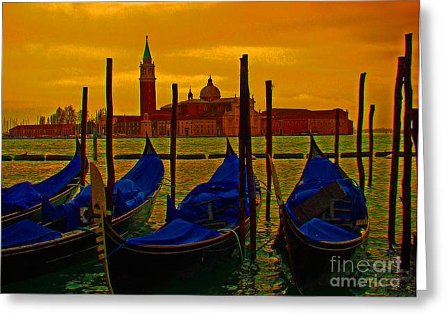 Italian Sunset Greeting Cards - Isola Di San Giorgio Maggiore in Venice Greeting Card by Al Bourassa