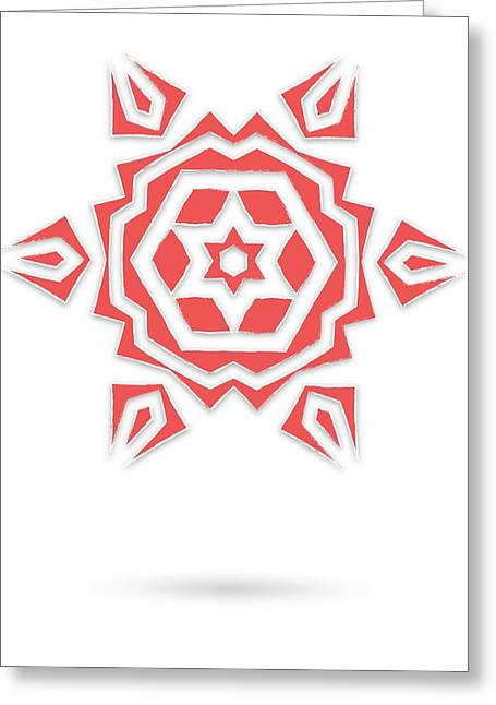 Ornament Tapestries - Textiles Greeting Cards - Isolated abstract red stars Greeting Card by Jozef Jankola