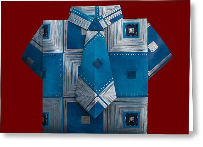 White Cloth Greeting Cards - Isolated paper made shirt with ornaments. Greeting Card by Deyan Georgiev