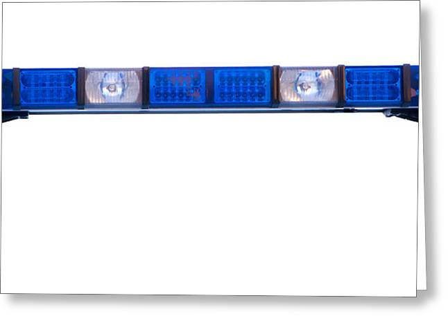 Police Cruiser Greeting Cards - Isolated Police Emergency Light Roof Bar Greeting Card by Fizzy Image