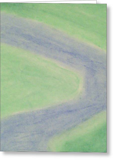 River View Pastels Greeting Cards - Isolated River--Aerial View Greeting Card by Judith Moore