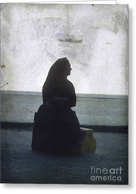 Citizens Photographs Greeting Cards - Isolated woman Greeting Card by Bernard Jaubert