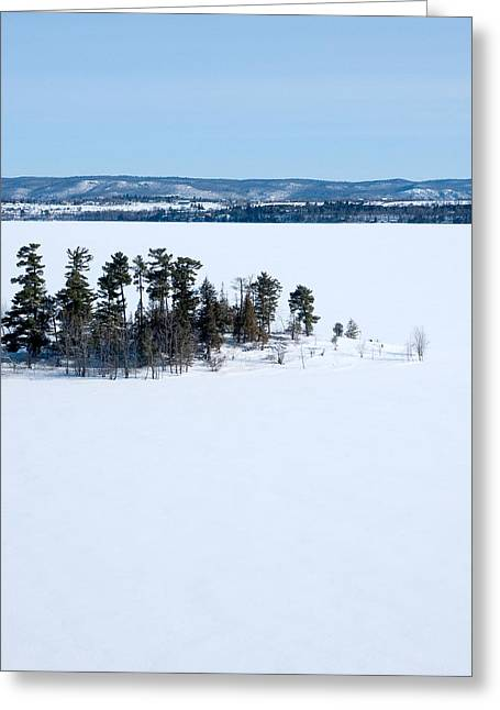 Aerial Greeting Cards - Isolation Pinheys Point in winter Ottawa River Greeting Card by Rob Huntley