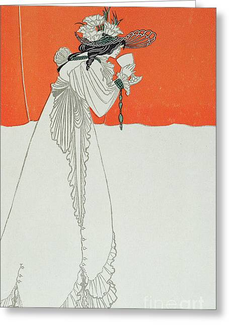 Art Nouveau Greeting Cards - Isolde Drinking the Poison Greeting Card by Aubrey Beardsley