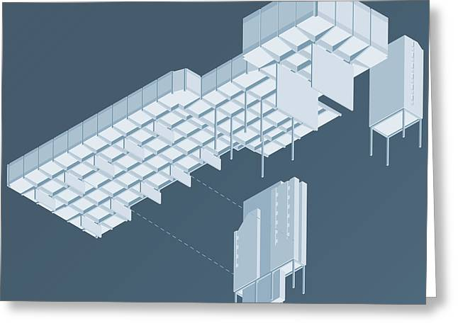 Modernism Greeting Cards - Isometric Council Chambers Greeting Card by Peter Cassidy