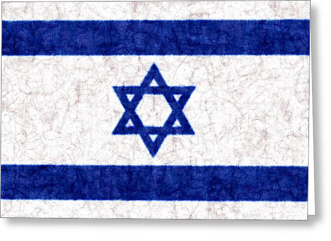 Israeli Digital Greeting Cards - Israel Star of David Flag Batik Greeting Card by Kurt Van Wagner