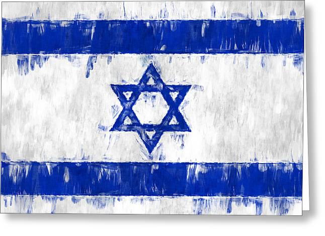 Israeli Digital Greeting Cards - Israel Star of David Flag Painted Greeting Card by Kurt Van Wagner