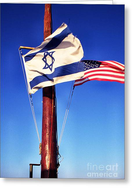 Sea Of Galilee Greeting Cards - Israeli Flag and US Flag Greeting Card by Thomas R Fletcher