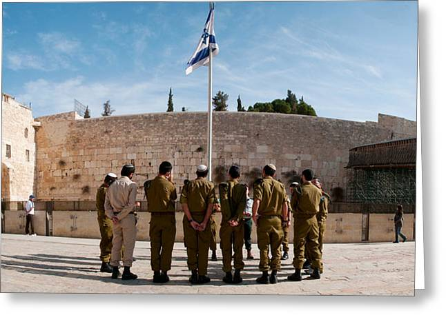 Army Soldier Greeting Cards - Israeli Soldiers Being Instructed Greeting Card by Panoramic Images