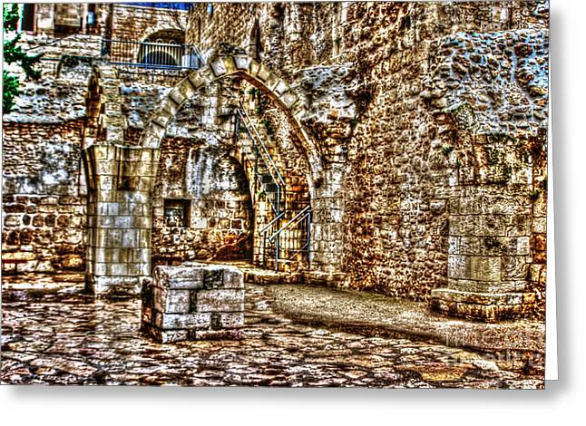Old Western Photos Mixed Media Greeting Cards - Israels Ruins Greeting Card by Michael Braham