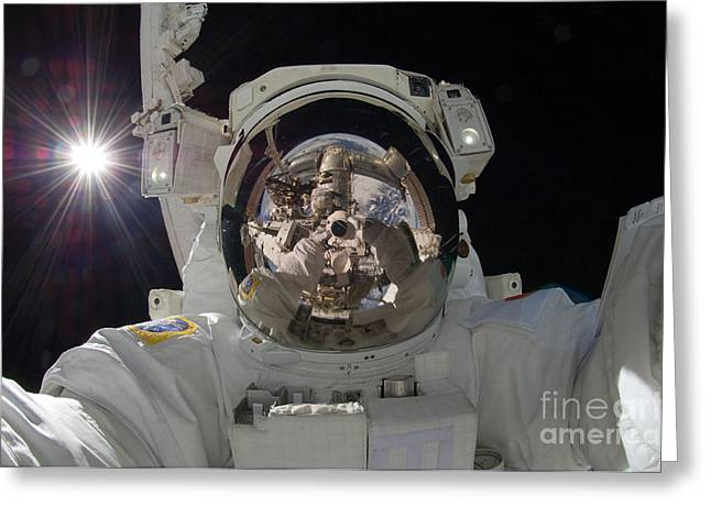 Troubleshooting Greeting Cards - ISS Expedition 32 Spacewalk Greeting Card by Nasa Jsc