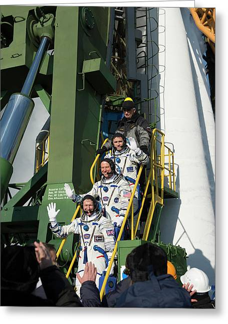 Iss Expedition 46 Crew At Launch Pad Greeting Card by Esa�stephane Corvaja, 2015