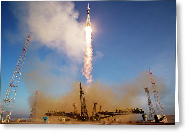 Iss Expedition 46 Launching Greeting Card by Nasa/joel Kowsky