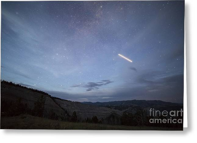 Bridger Teton Greeting Cards - ISS Over Gros Ventre Mountains Greeting Card by Mike Cavaroc