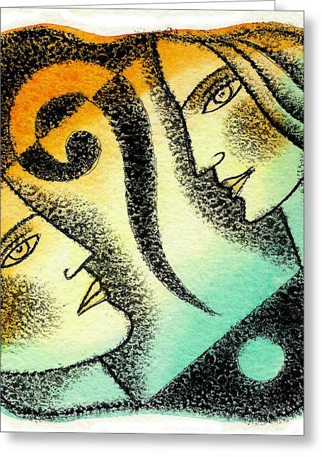 Man And Woman Greeting Cards - Issue Greeting Card by Leon Zernitsky
