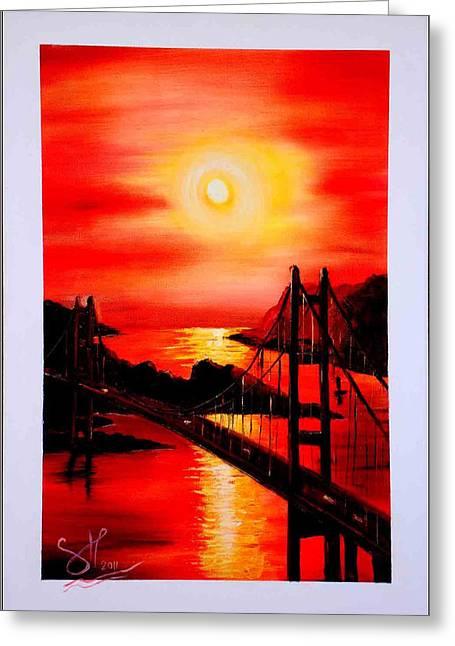 Bob Ross Paintings Greeting Cards - Istanbul Bridge Greeting Card by Shirwan Ahmed
