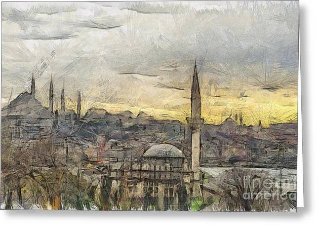 Skylines Pastels Greeting Cards - Istanbul Cityscape Digital Drawing Greeting Card by Antony McAulay