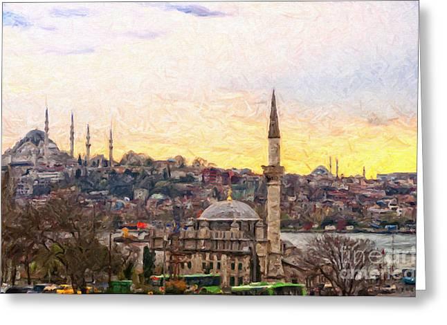 Byzantine Digital Art Greeting Cards - Istanbul Cityscape Digital Painting Greeting Card by Antony McAulay
