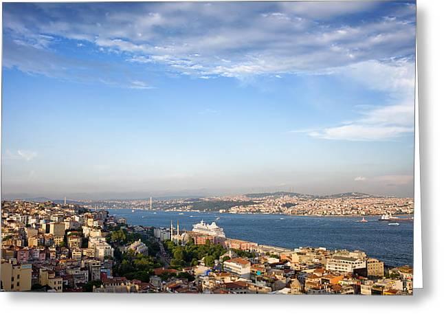 Istanbul Cityscape In Turkey Greeting Card by Artur Bogacki