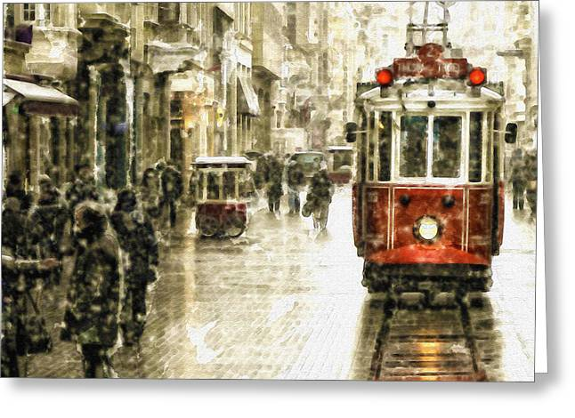 Winter Photos Greeting Cards - Istanbul Nostalgic Tramway Greeting Card by Marian Voicu
