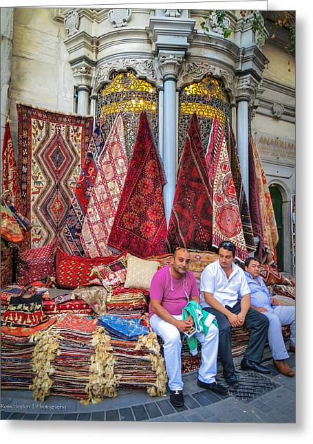 Istanbul Rug Merchants Greeting Card by Ross Henton