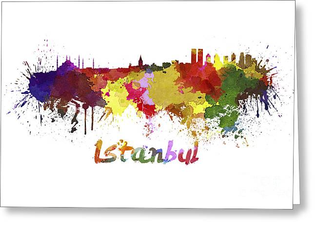 Istanbul Greeting Cards - Istanbul skyline in watercolor Greeting Card by Pablo Romero