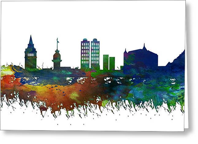 Istanbul Skyline Watercolor Greeting Card by Celestial Images